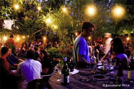 Enjoy live music nightly, the courtyard atmosphere, wine, cocktails and food at Bacchanal.