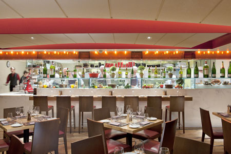 Dining room at Bar Boulud, London, UK
