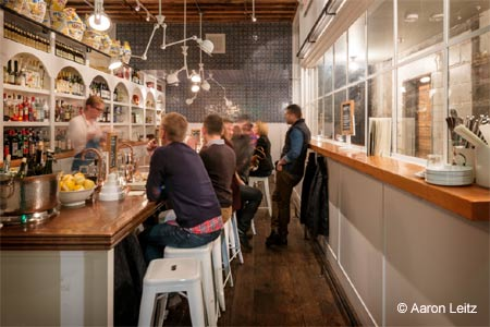 An aperitivo bar adjacent to chef Renee Erickson's The Walrus and the Carpenter.