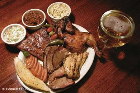 Texas-style barbecue --- pulled pork, beef brisket and baby-back ribs --- round out the menu at this local shrine to 'cue.