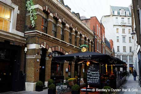Historic Bentley's, with its outdoor terrace, is one of London's top oyster bars and restaurants.