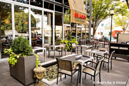 Enjoy a meal on the patio at Black's Bar & Kitchen in Bethesda, one of GAYOT's Best Outdoor Dining Restaurants in Maryland Suburbs (DC)