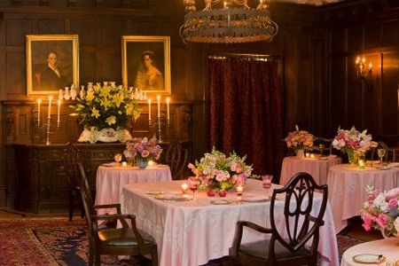 Candles and fresh flowers set a romantic mood at Blantyre in New England