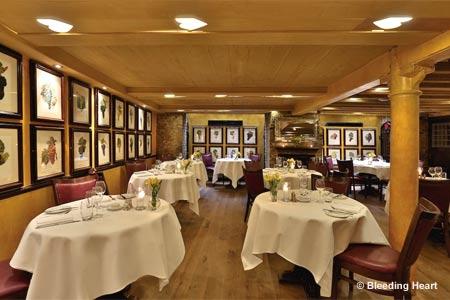 Dining Room at Bleeding Heart Tavern, London,