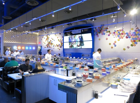 Dining room at Blue C Sushi, Hollywood, CA
