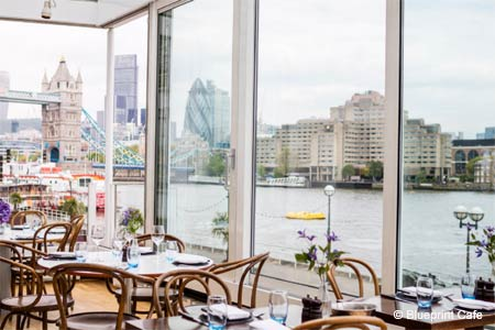 The view of the river Thames is striking from Blueprint Cafe in London