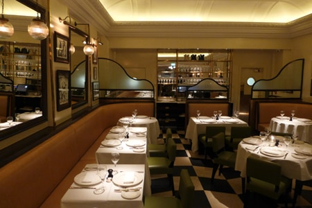 Dining room at Boulestin, London, UK