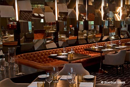 Michael Mina's modern steakhouse offers beef and seasonal shellfish in a trendy designer setting.