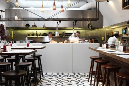 Dining room at Tapas Brindisa, London, UK