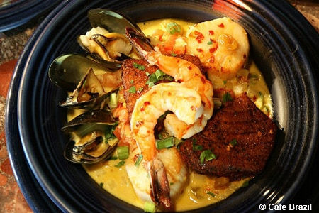 Seafood is the star at this sultry Brazilian restaurant that prepares a multitude of stand-out dishes.