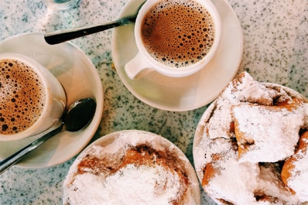 Beignets at Cafe du Monde restaurant are a must for everyone who visits the French Quarter in New Orleans