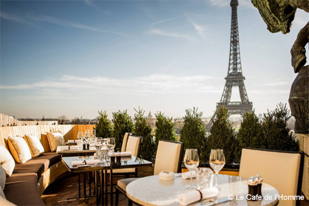 One of GAYOT's Best Outdoor Dining Restaurants in Paris, Le Cafe de l'Homme offers Eiffel Tower views from its terrace