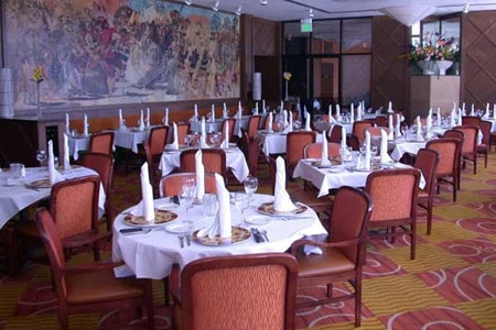 The dining room at Carmine's Steakhouse in St. Louis, Missouri