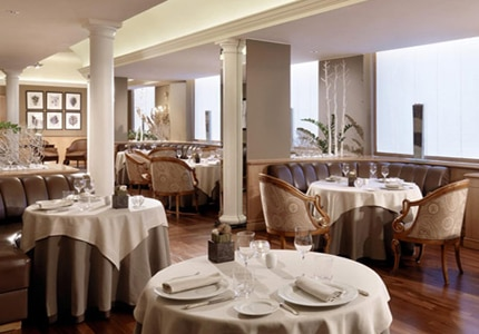 Dining room at Casanova Restaurant, Milan, italy