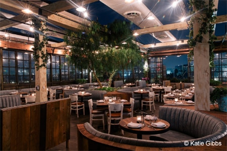 It's more about the effervescence than the food at this trendy rooftop seafood spot in West Hollywood.