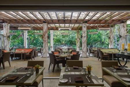 Enjoy seasonal California cuisine on the patio of Cavatina, one of GAYOT's Top 10 Outdoor Dining Restaurants in Los Angeles