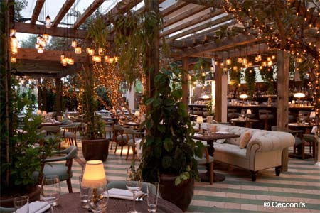Italian fare in a courtyard wonderland lit up with twinkling lights in a trendy see-and-be-seen South Beach locale.