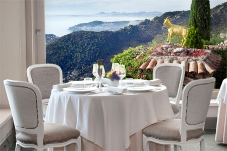 Dining room at Chateau de la Chevre d'Or, Eze, france