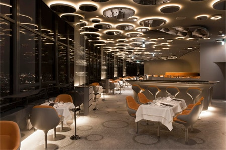 Dining room at Le Ciel de Paris, Paris, france