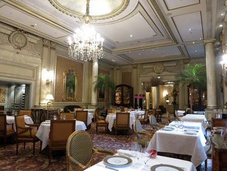 The dining room at Le Cinq in Paris, France