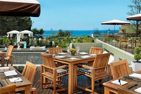 Ocean-view, sophisticated dining on the patio of L'Auberge Del Mar.