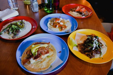 An array of tacos at Colonia Taco Lounge, one of the Top 10 Taco Stands in the U.S.