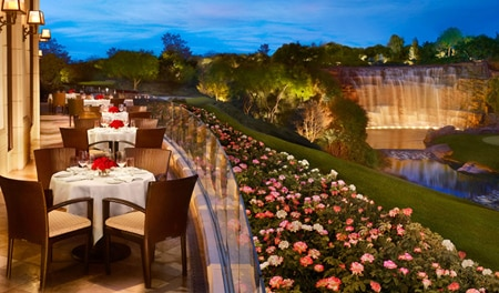 The patio at The Country Club at Wynn Las Vegas overlooks the 18th hole