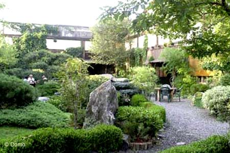 Traditional Japanese country foods in a serene setting, complete with outdoor dining, a museum and rock slab tables.