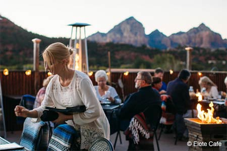 Enjoy Mexican food and views of Sedona's Red Rocks at Elote Cafe restaurant