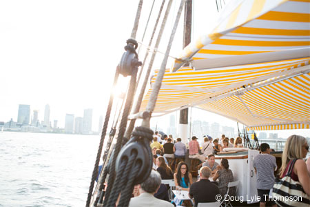 Enjoy oysters outside on the water at Grand Banks, one of GAYOT's Best Outdoor Dining Restaurants in New York