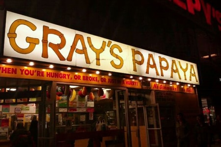 Dining room at Gray's Papaya, New York, NY