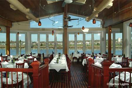 Enjoy a seafood dinner at Harbor Lights