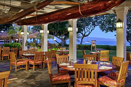 Hula Grill in Lahaina features one of the best resteaurant patios on Maui, Hawaii