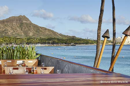 Hula Grill Waikiki features one of the best resteaurant patios in Honolulu, Hawaii