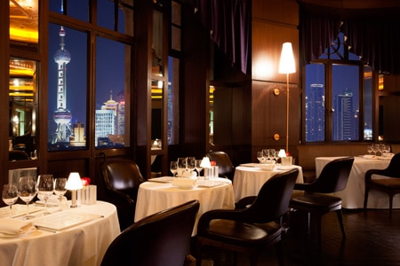 Enjoy Asian-accented French cuisine along with a distinctive view at Jean-Georges restaurant in Shanghai