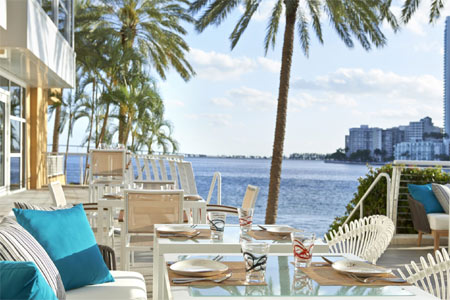 La Mar by Gaston Acurio boasts an expansive, tropically-planted patio on Miami's Biscayne Bay