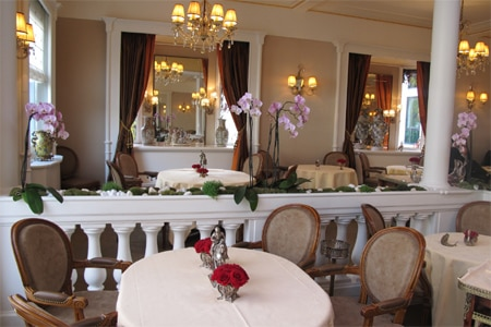 Dining room at Restaurant Lasserre, Paris, france