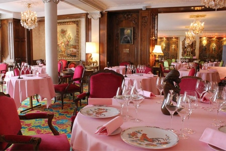 Dining room at Le Chantecler, Nice, france
