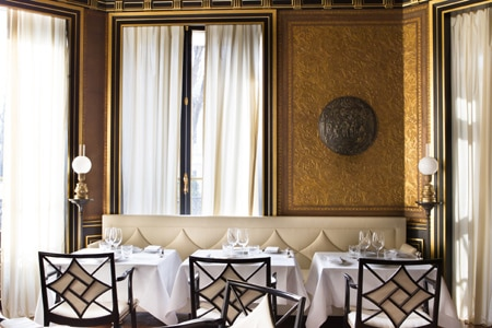Dining room at Le Gabriel, one of GAYOT's Top 10 New and Notable Restaurants in Paris