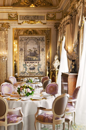 The dining room at Le Louis XV in Monte Carlo, Monaco