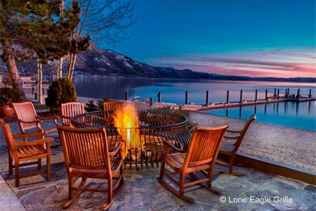 Lone Eagle Grille restaurant features one of Tahoe's best lake views
