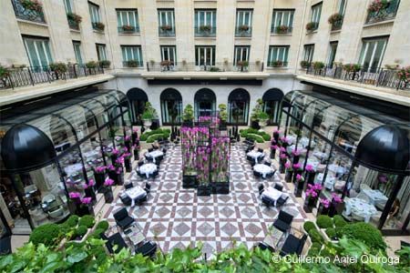 L'Orangerie is located in the historic courtyard of the Four Seasons Hotel George V Paris