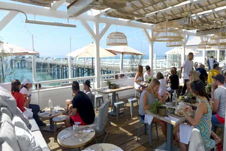 Enjoy a meal on the oceanside patio at Malibu Farm Restaurant & Bar, one of GAYOT's Best Outdoor Dining Restaurants in Santa Monica & Malibu