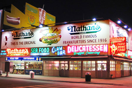 Dining room at Nathan's Famous, Brooklyn, NY