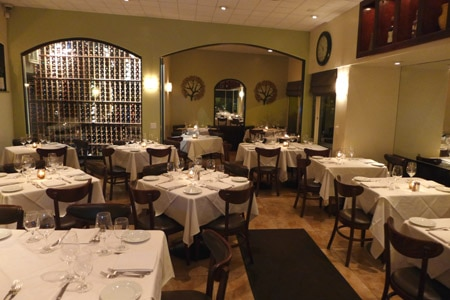 The dining room of Olio e Limone Ristorante in Santa Barbara, California