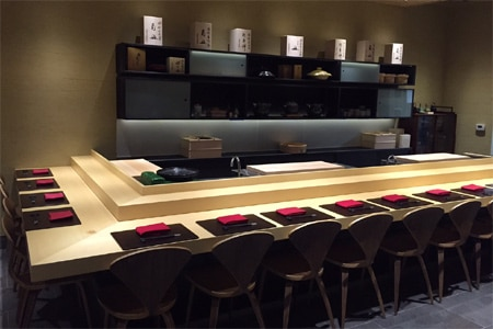 Omakase has a sushi bar that seats 14 and a duo of two-tops, so reserve well in advance