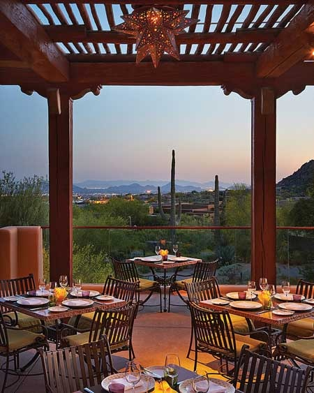 Views of the high Sonoran desert from the patio of Talavera in Scottsdale, AZ