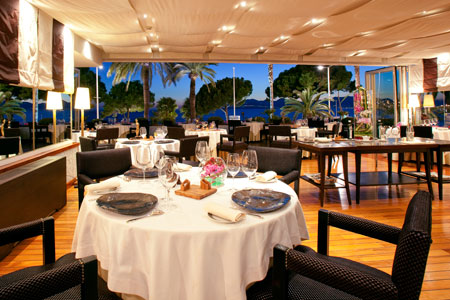 Dining room at La Palme d'Or, Cannes, france