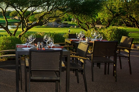 Enjoy a meal on the patio of Palo Verde, one of GAYOT's Best Outdoor Dining Restaurants in the Phoenix area