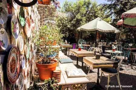 Enjoy a meal on the patio at Park on Fremont, one of GAYOT's Best Outdoor Dining Restaurants in Las Vegas Off the Strip